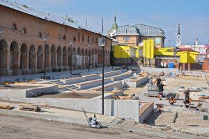 В Рыльске завершают реконструкцию Базарной площади