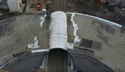 В Курчатове Курской области укрепляют откосы будущего путепровода