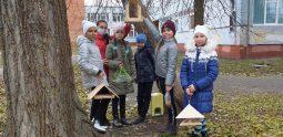 В Курске школьники повесили кормушки для птиц