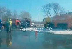 В Курске у АЗС тушили бензовоз в рамках учебного пожара