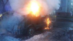 В Курске на улице Ломоносова сгорела «Газель»