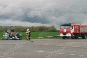 В Курской области зафиксировано еще одно ДТП с перевернутой машиной
