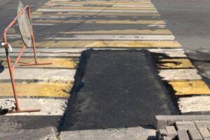 В центре Курска ликвидировали провал на дороге